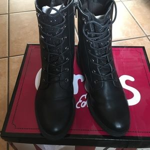 embellished combat boots circus black faux leather